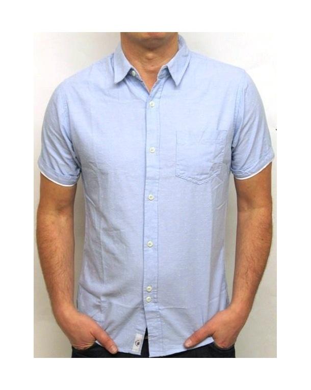 Bellfield Short Sleeve Chambray Shirt Sky Blue