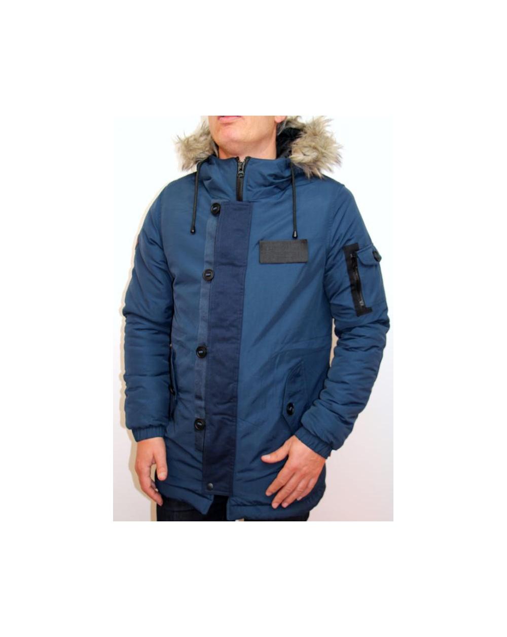 Bellfield navy parka jacket