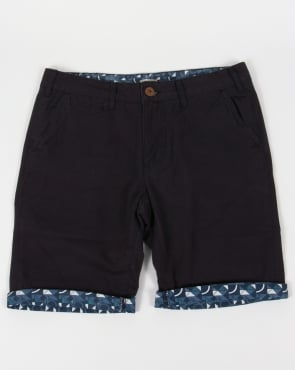 Bellfield Turn Up Printed Shorts Navy
