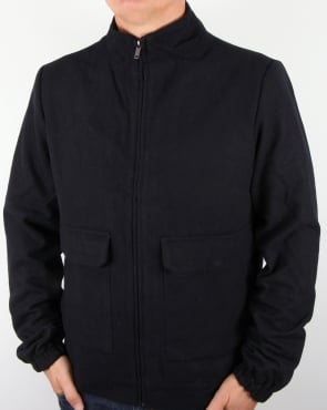 Bellfield Wool Funnel Bomber Jacket Navy