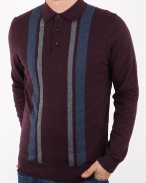 Ben Sherman Colour Block Knit Polo Wine