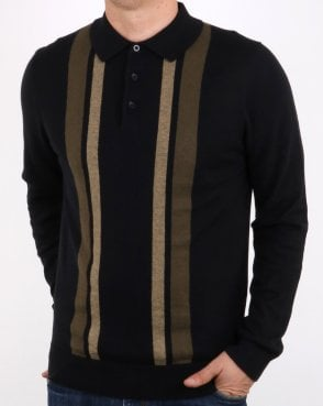 Ben Sherman Colour Block Ls Knit Polo Black