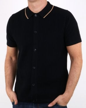 Ben Sherman Full Button Knitted Polo Black