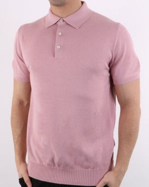 Ben Sherman Short Sleeve Knitted Polo Light Pink