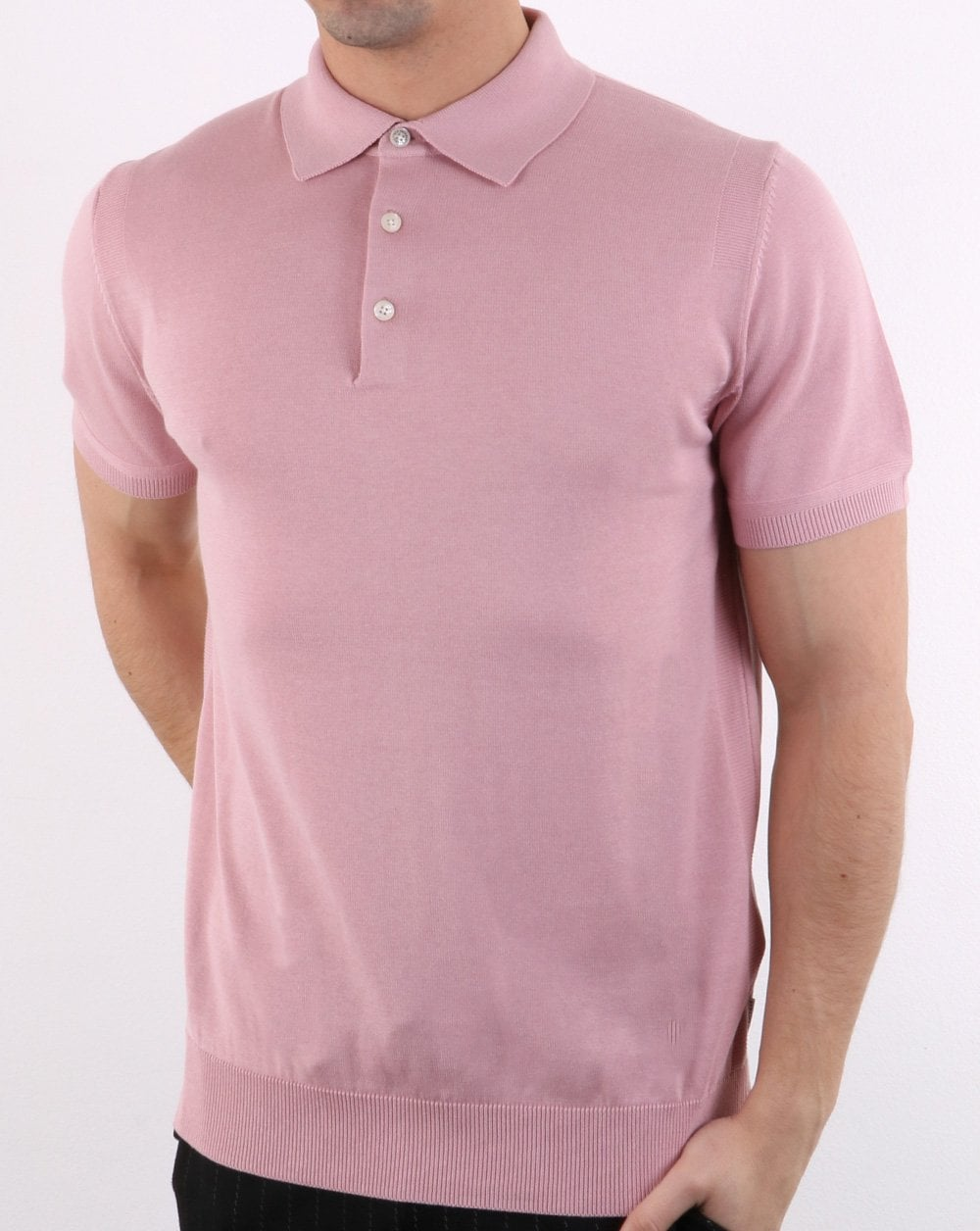 Ben Sherman Short Sleeve Knitted Polo In Light Pink Mens Polo Shirt
