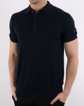 Ben Sherman Short Sleeve Knitted Polo Navy
