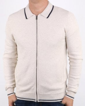Ben Sherman Zip Through Honey Comb Knit Off White