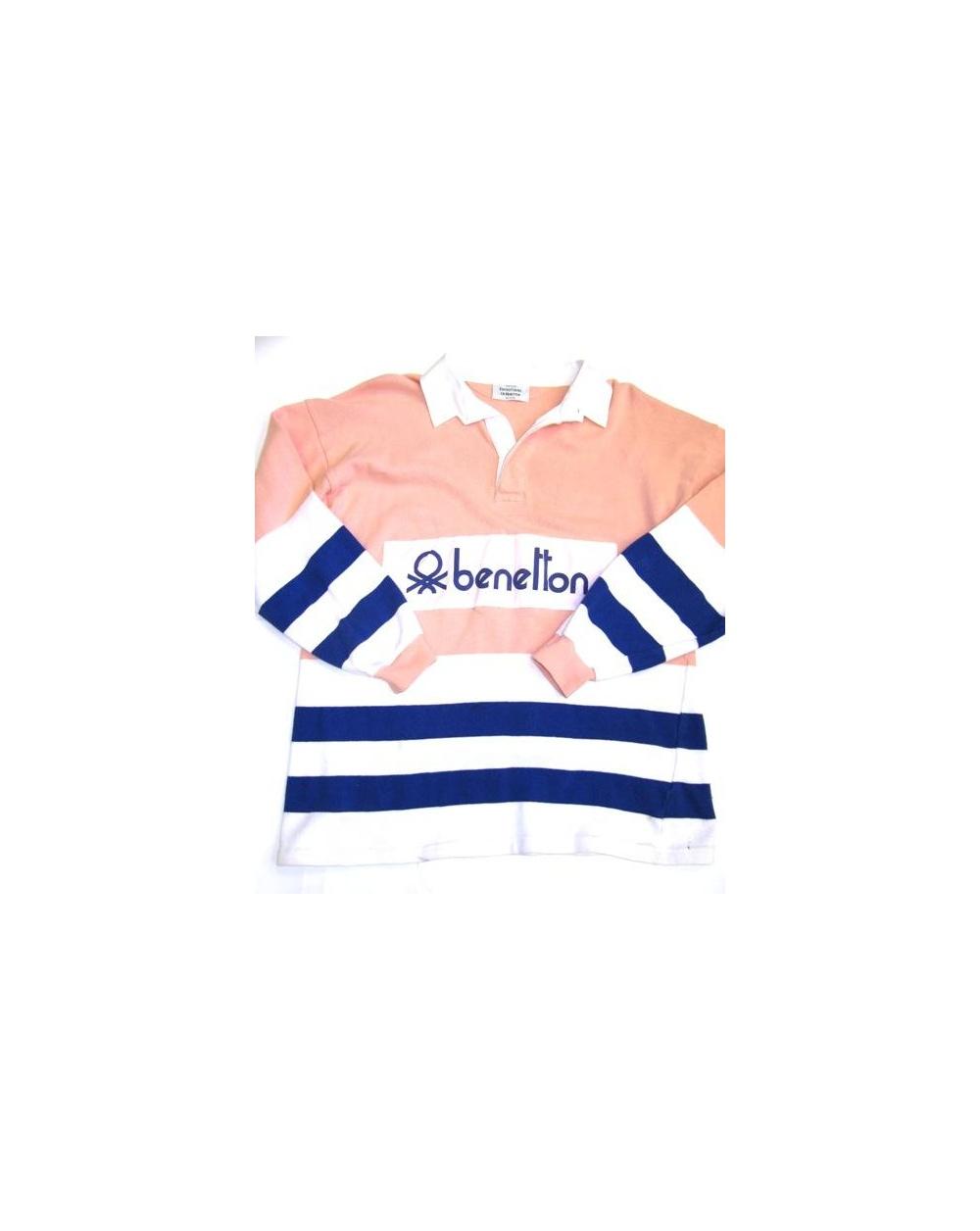 db5092d130f Benetton Rugby Vintage 80s Sweatshirt Peach Navy White - Vintage ...