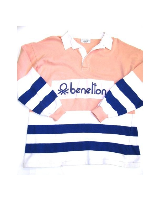 Benetton Rugby Vintage 80s Sweatshirt Peach/Navy/White