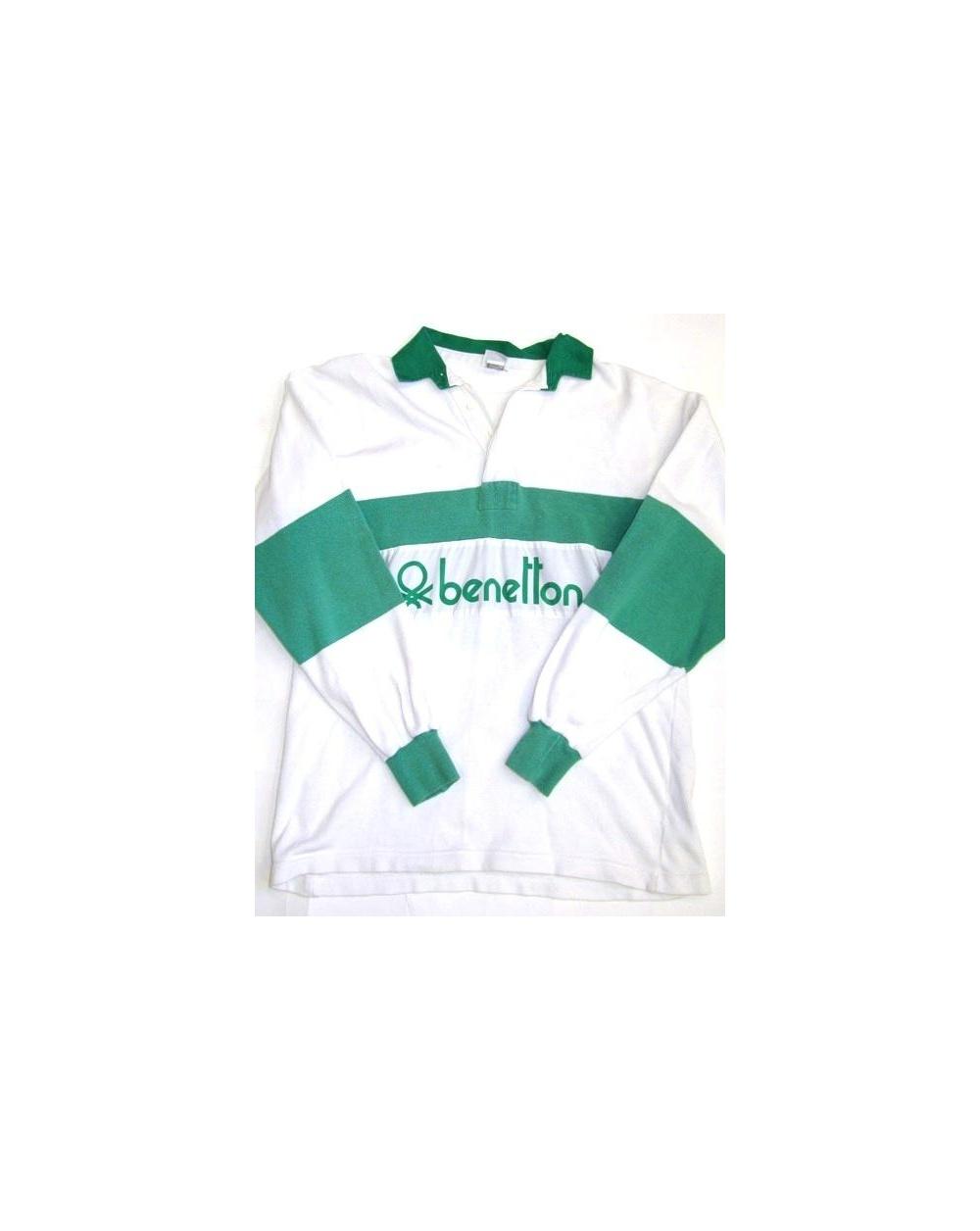 abd95a45f92 Benetton Rugby Vintage 80s Sweatshirt White Green - Vintage Benetton ...