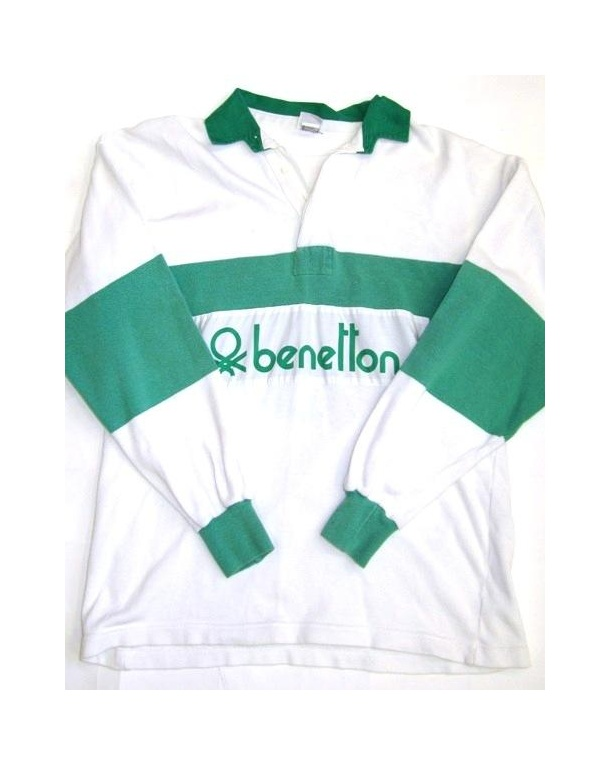 Benetton Rugby Vintage 80s Sweatshirt White/Green