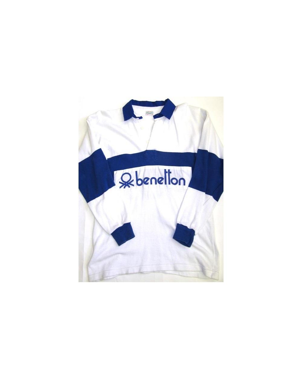 f4beace06a4 Benetton Rugby Vintage 80s Sweatshirt White Navy - Vintage Benetton ...