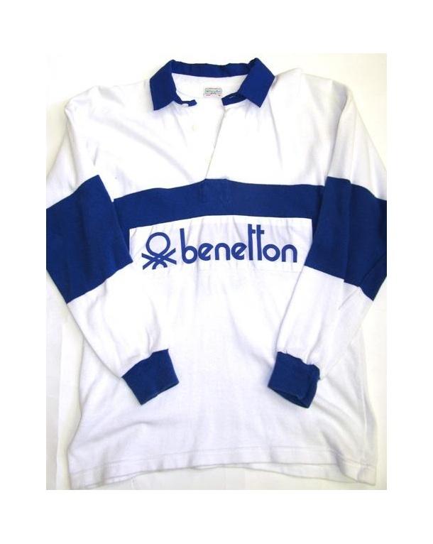 Benetton Rugby Vintage 80s Sweatshirt White/Navy