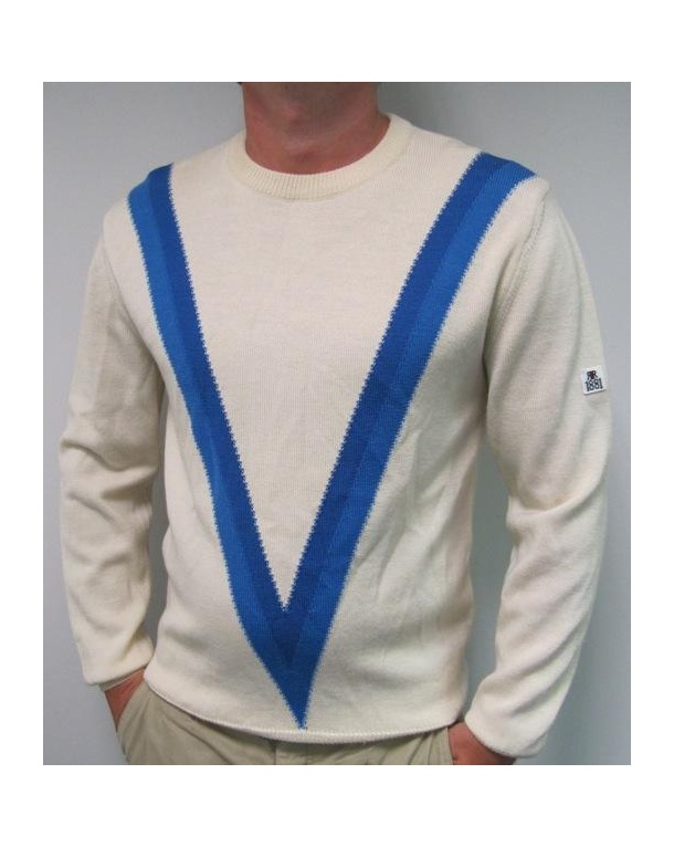 Cerruti 1881 Knit As Worn In The Firm Medium Large Off-White/Royal Blue