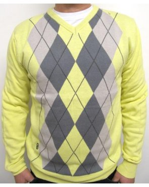 Circa 81 Argyle Icon Knit Yellow/Charcoal/Grey