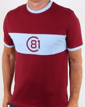 Circa 81 Bold Stripe Tribute T Shirt Claret/sky Blue