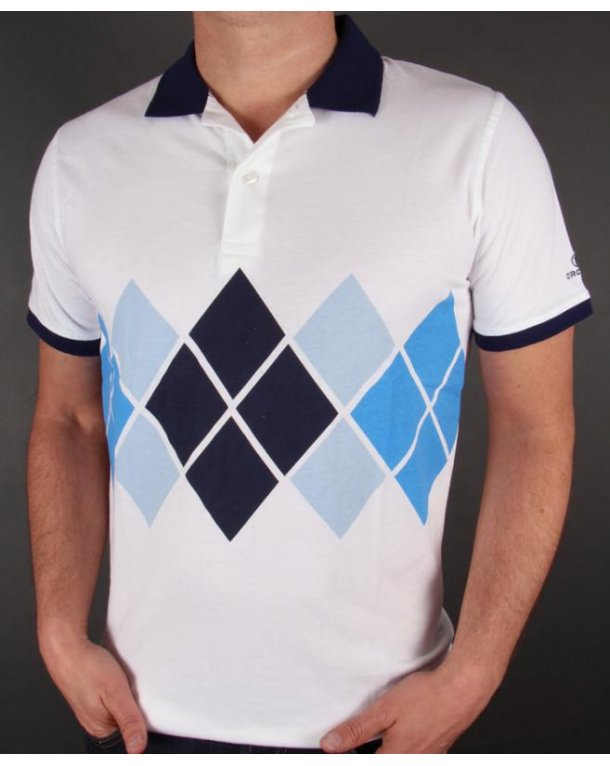 Circa 81 Diamond Polo Shirt White/Navy/Blue