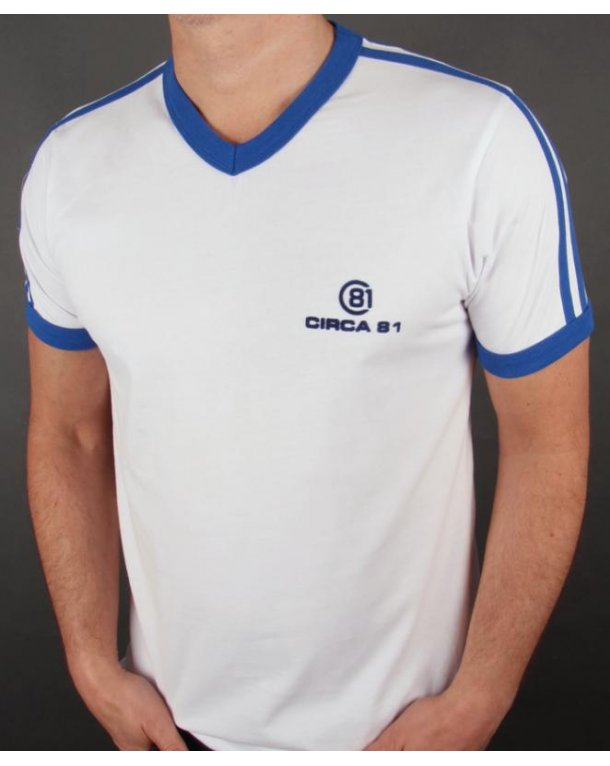 Circa 81 V Neck T-shirt White/Royal Blue
