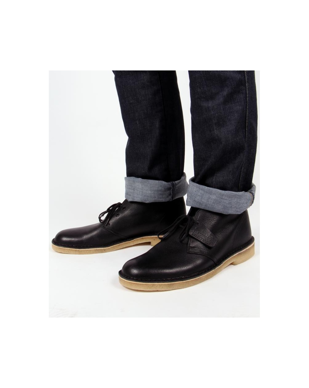 2dce0ee19aaaf Clarks Originals Desert Boot In Leather Black Leather - clarks ...