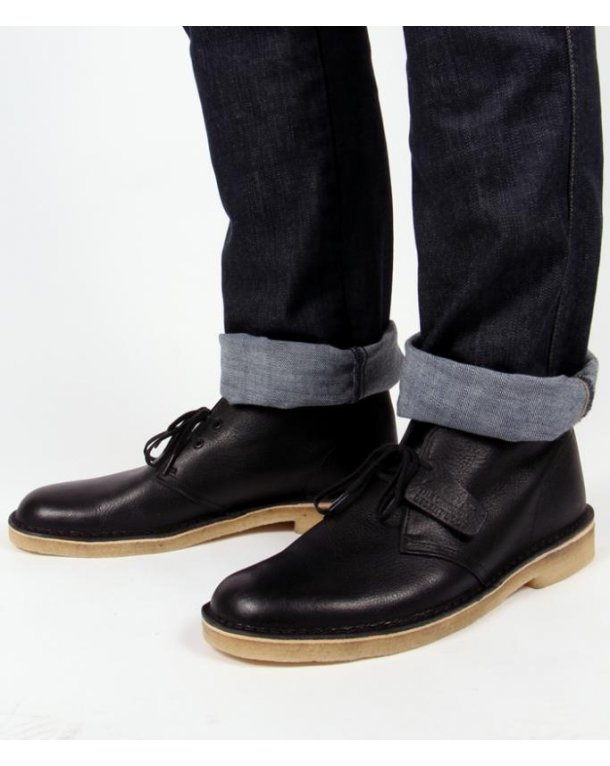 Clarks Originals Desert Boot In Leather Black Leather