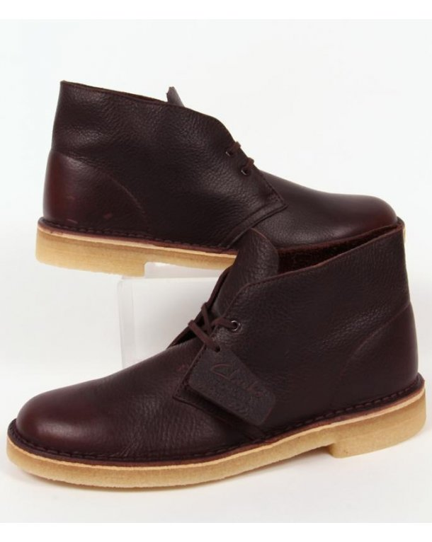 Clarks Originals Desert Boot In Leather Brown Tumbled Leather