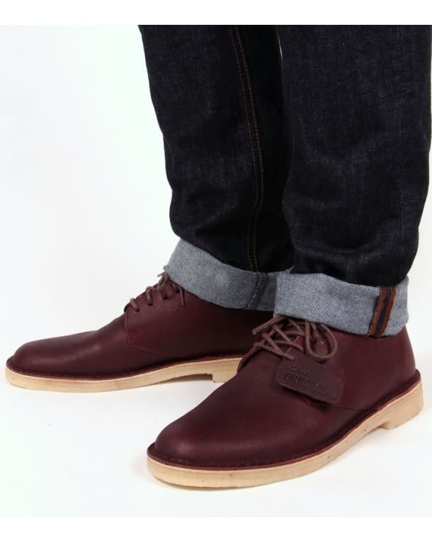 Clarks Originals Desert London In Leather Wine
