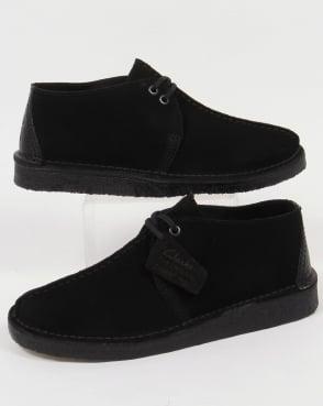 Clarks Originals Desert Trek Shoes In Suede Black