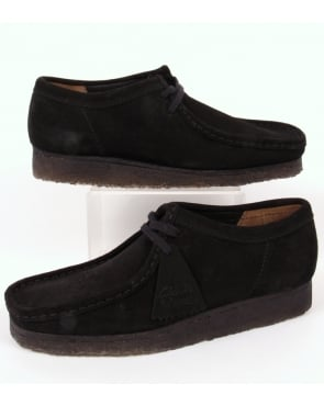 Clarks Originals Wallabee Shoe In Suede Black/Black Sole
