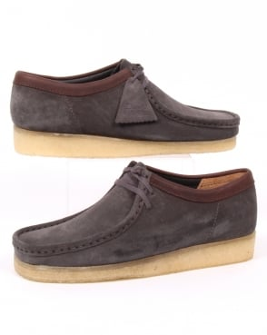 Clarks Originals Wallabee Shoes Charcoal Suede