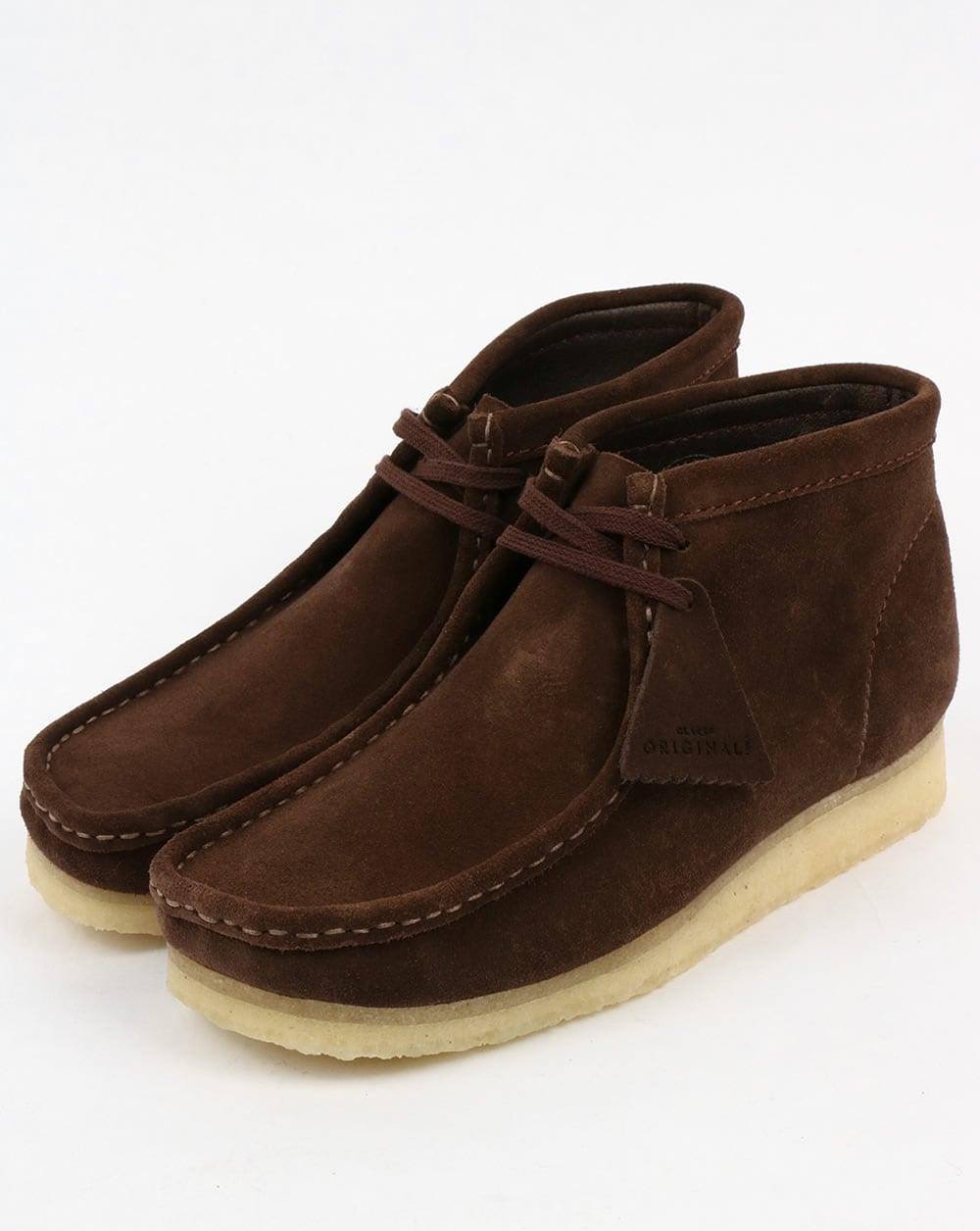 aaf7e4b4872 Clarks Originals Clarks Originals Wallabee Suede Boot Dark Brown