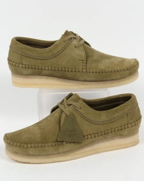 Clarks Originals Weaver Suede Shoes Forest Green