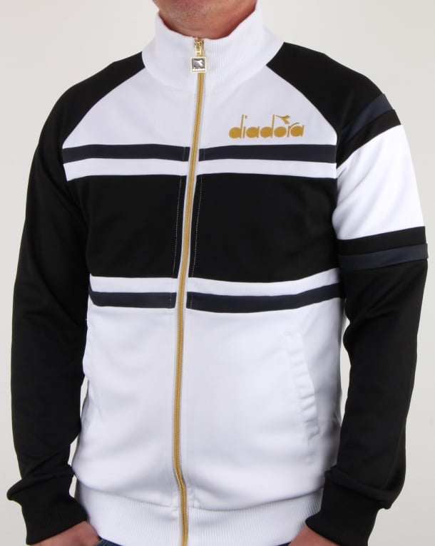 Diadora 80s Track Top White Black Tracksuit Mens