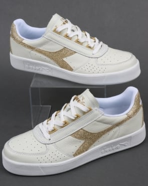Diadora B. Elite Womens Trainers White/Gold
