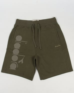 Diadora Bermuda Sweat Shorts Green Mushroom