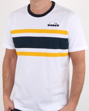 Diadora Bold Stripe T Shirt White/blue