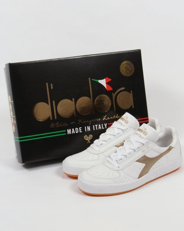 Diadora Borg Elite Kangaroo Trainers White/Gold