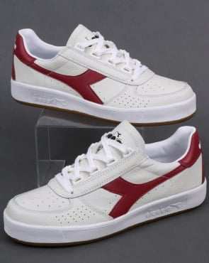 Diadora Borg Elite L Trainers White/Burgundy Red/Gum