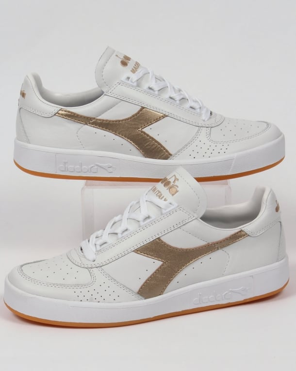 Diadora Borg Elite Premium Trainers White/gold