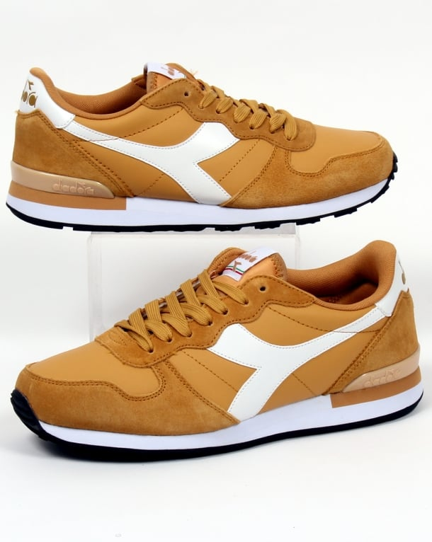 Diadora Camaro Leather Trainers Amber Gold