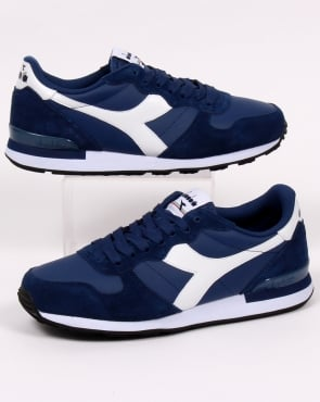 Diadora Camaro Leather Trainers Navy/white