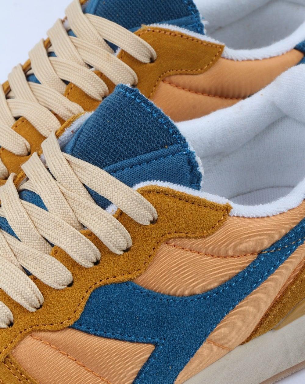 Diadora Camaro Trainers in Orange Mustard /& Blue vintage used distressed look