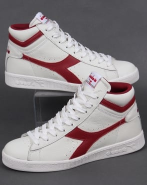 Diadora Game High Waxed Trainers White/Chili Peppers