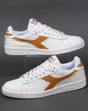 Diadora Game Low Waxed Trainers White/Amber Gold