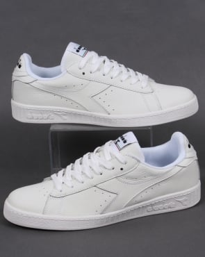 Diadora Game Low Waxed Trainers White/White/Black