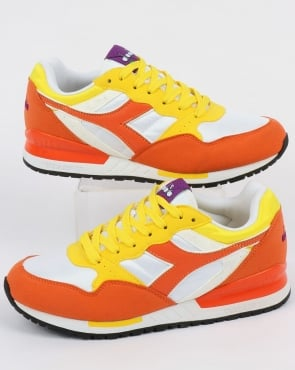 Diadora Intrepid NYL Trainers Vermillion Orange/Yellow