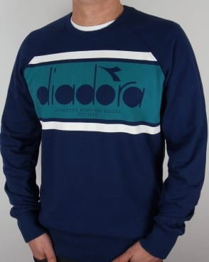 Diadora Logo Sweatshirt Estate Blue/Porcelain Green