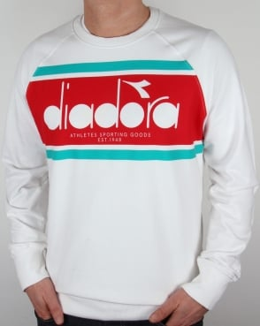 Diadora Logo Sweatshirt White/Green Ceramics