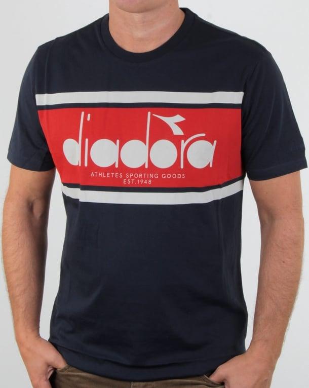 Diadora Logo T Shirt Navy/red/white
