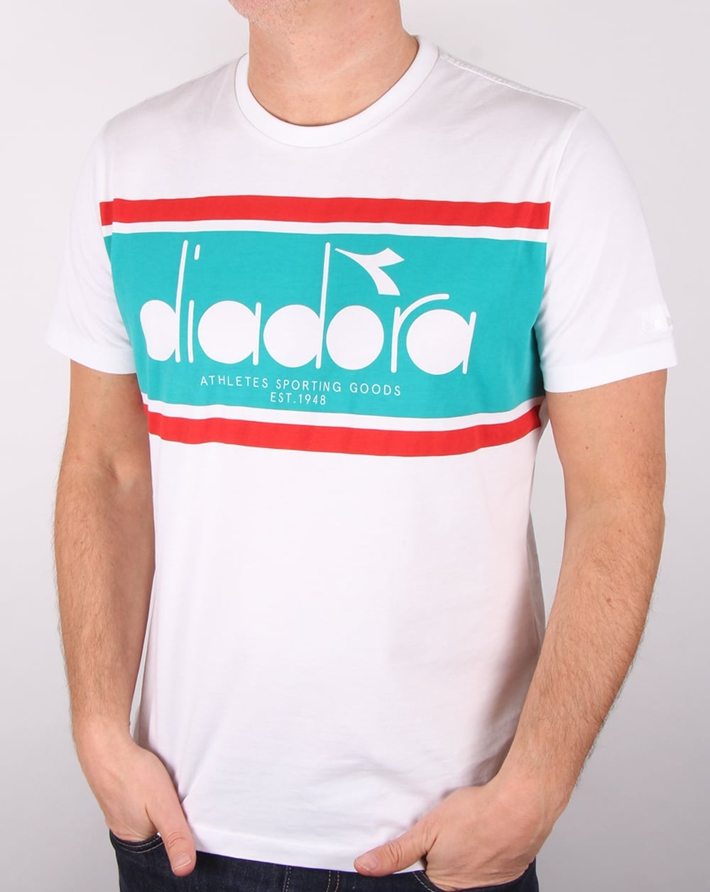 diadora logo tshirt whitegreen ceramics mens tee graphic
