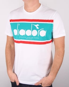 Diadora Logo T-shirt White/green Ceramics